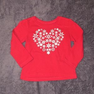 Girls red snowflake top